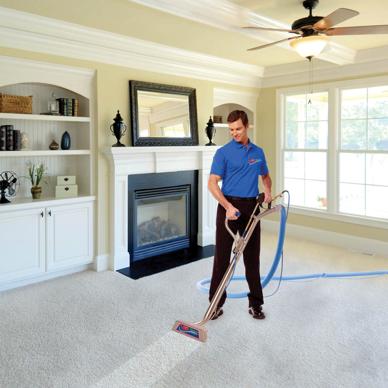 Professional carpet cleaning with steam machine