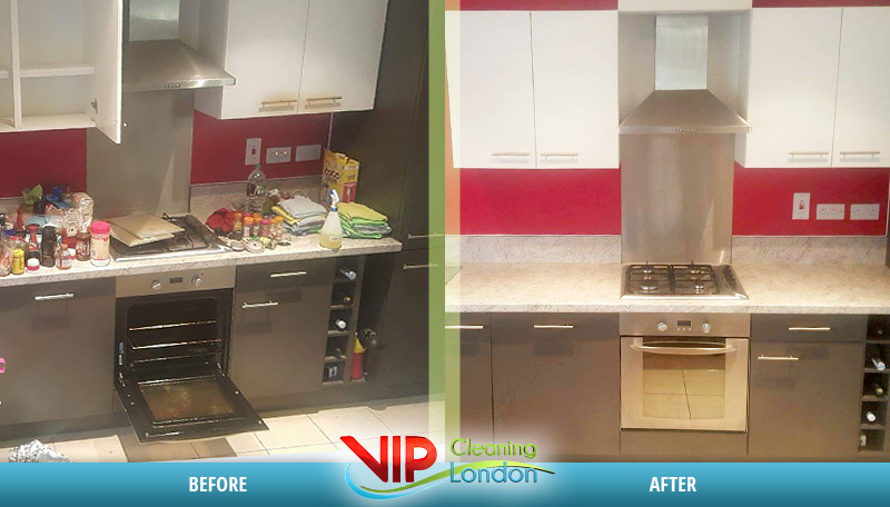 Flat kitchen cleaning London Before After
