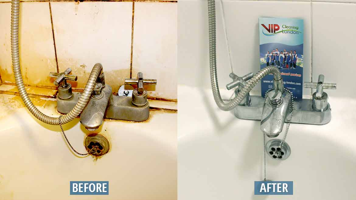 Shower faucet cleaning before after