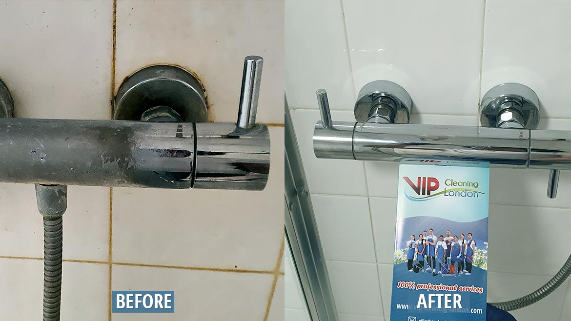 Shower faucet cleaning London before after