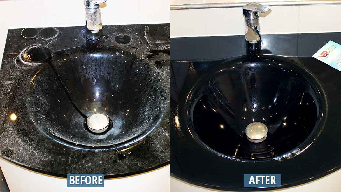 Cleaning bathroom sink before after